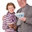 Royalty-Free Stock Photo: Elderly married couple with money