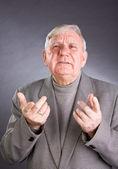 Portrait emotional elderly men — Stock Photo