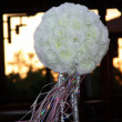 Wedding ornament from white roses in the - Stock Photo