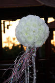 Wedding ornament from white roses in the — Stock Photo