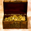 Chest with gold coins — Stock Photo