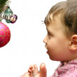 The little boy hangs up an ornament — Stock Photo