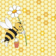 Bee with a flower — Stock Vector #1343414