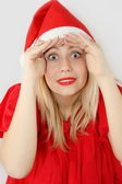 Girl Santa Klaus — Stock Photo