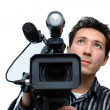 Cameraman with a camera — Stock Photo