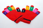 Children red mitten isolated — Stock Photo
