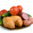 Stock Photo: Vegetables, meat smoked hen, small s
