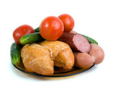 Vegetables, meat the smoked hen, small s — Stock Photo