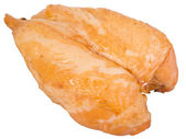 Smoked chicken breast on a white backgro — Stock Photo