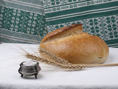 Bread and salt. Russian tradition. — Stock Photo