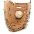 Stock Photo: Baseball glove and ball isolated