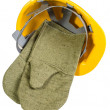 Yellow  helmet with mittens isolated on — Stock Photo