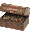 Old wooden chest for treasures isolated - Stock Photo