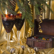 Royalty-Free Stock Photo: Christmas still life with glasses and fi