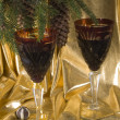 Christmas still life with glasses and fi - Foto de Stock