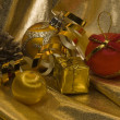 Christmas still life with decorations on - Foto de Stock