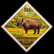 Royalty-Free Stock Photo: Postal stamp.  Black Rhinoceros