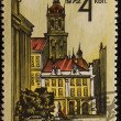 Vintage stamp depicting city Lvov — Stock Photo