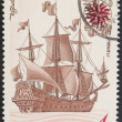 Vintage stamp depicting a sailing ship — Stock Photo