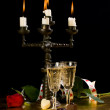 Candles, glasses with wine, rose — Stockfoto