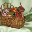 Easter eggs are in a braiding basket — Stock Photo
