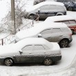 Cars covered in snow after snowstorm — Stock Photo