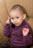 The little boy with phone — Stock Photo