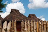 Rural houses fenced with a wooden paling — Stock Photo