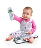 The small child with phone — Stock Photo