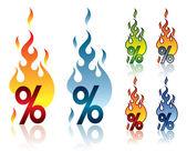 Burning percent — Stock Vector