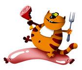 кошка и колбаса — Стоковое фото