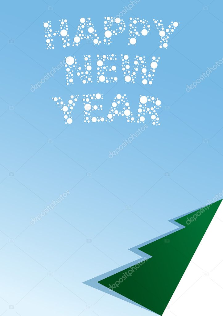Vector illustration of a blank list with a newyear congratulation.  — Stock Vector #1147292