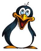Ilustração dos desenhos animados de sorridente pinguim em fundo branco — Fotografia Stock