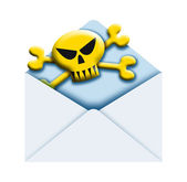 Envelope and skull — Stock Photo