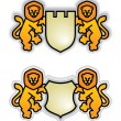 Emblem with lions — Stock Vector