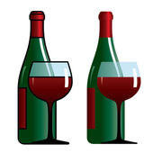 Bottle and glass with wine — Stock Vector