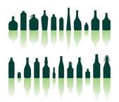 Bottles silhouettes — Stock Vector
