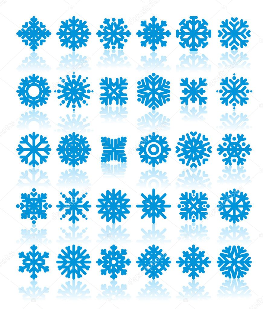 Vector illustration of a different snowflakes on white background — Stock Vector #1245663