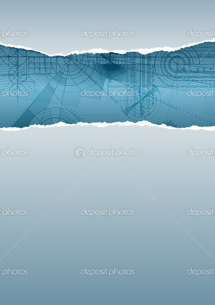 Vector illustration of a ripped paper with technical background, gray&blue pattern.  Stock Vector #1276217
