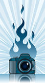 Camera with fire — Stock Vector