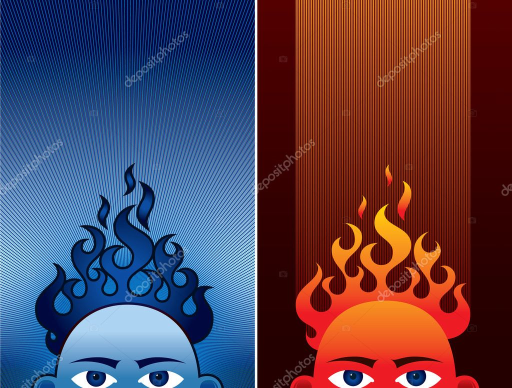 Brainstorming head in two different colour patterns.  Stock Vector #1384409