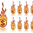 Burning currency - Stock Vector