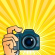 Camera in hand - Stock Vector