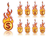 Burning currency — Stock Vector