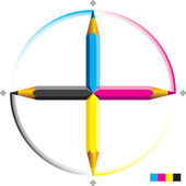 Cmyk pencils — Stock Vector