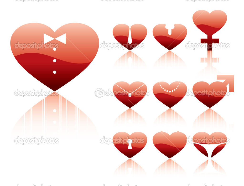 Vector illustration of a sex character hearts. — Stock Vector #1390629