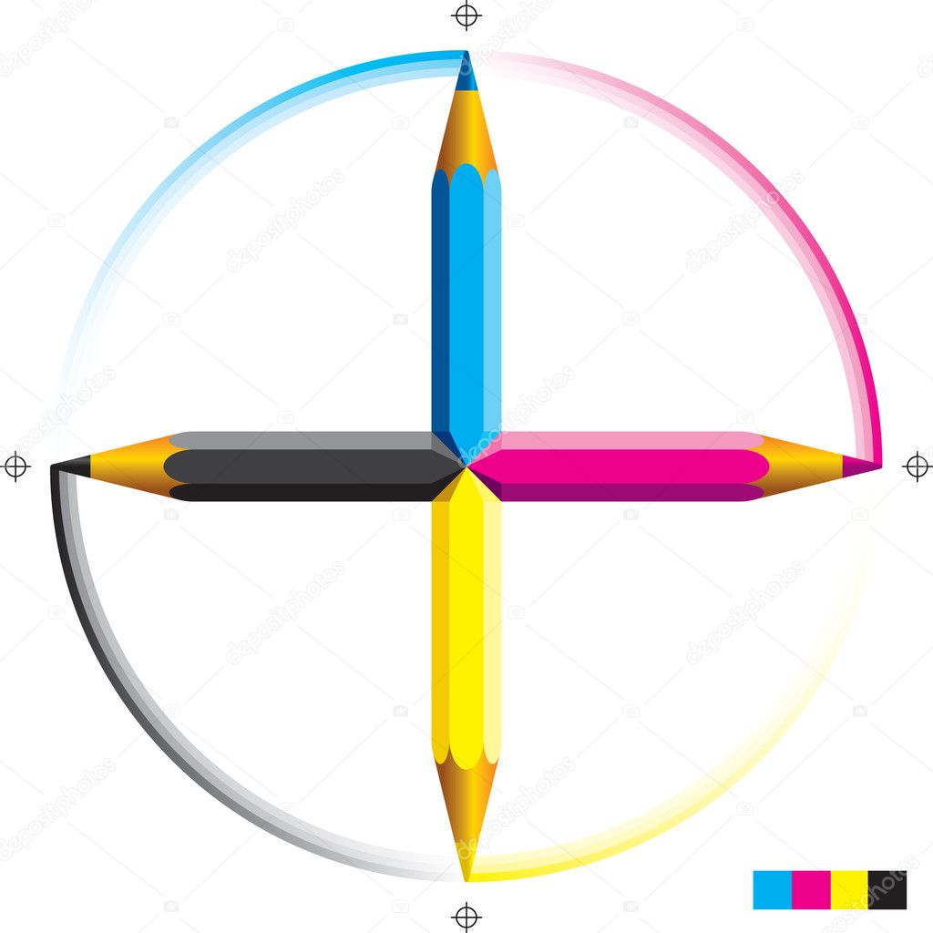 Vector illustration of four cmyk colored pencils as a cross.  — Stock Vector #1393659