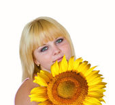 Portrait of girl with sunflower — Stock Photo
