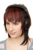 Woman in Head-phones — Stock Photo