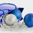 Blue bag with christmas decoration — Stock Photo